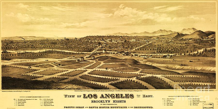 Reproduction Drawing - Los Angeles From The East by Pg Reproductions