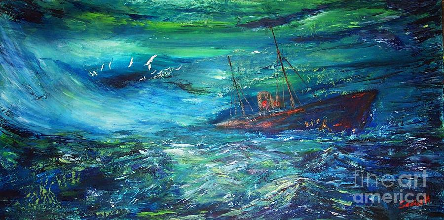 Ghost Ship Painting - Lost In Bermuda by Mary Sedici
