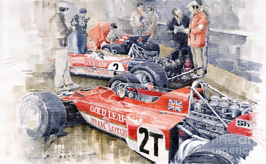 Watercolor Painting - Lotus 49 B Lotus 72  by Yuriy Shevchuk