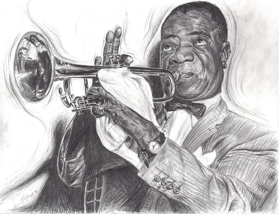 Louis Armstrong Drawing By Michael Morgan