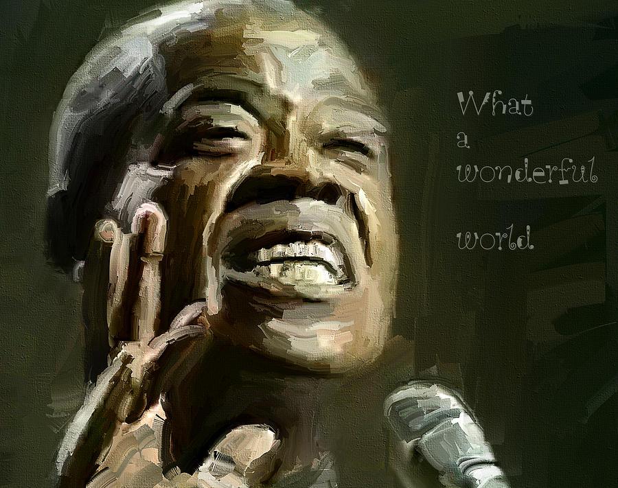Louis Digital Art - Louis Armstrong Wonderful World by Yury Malkov