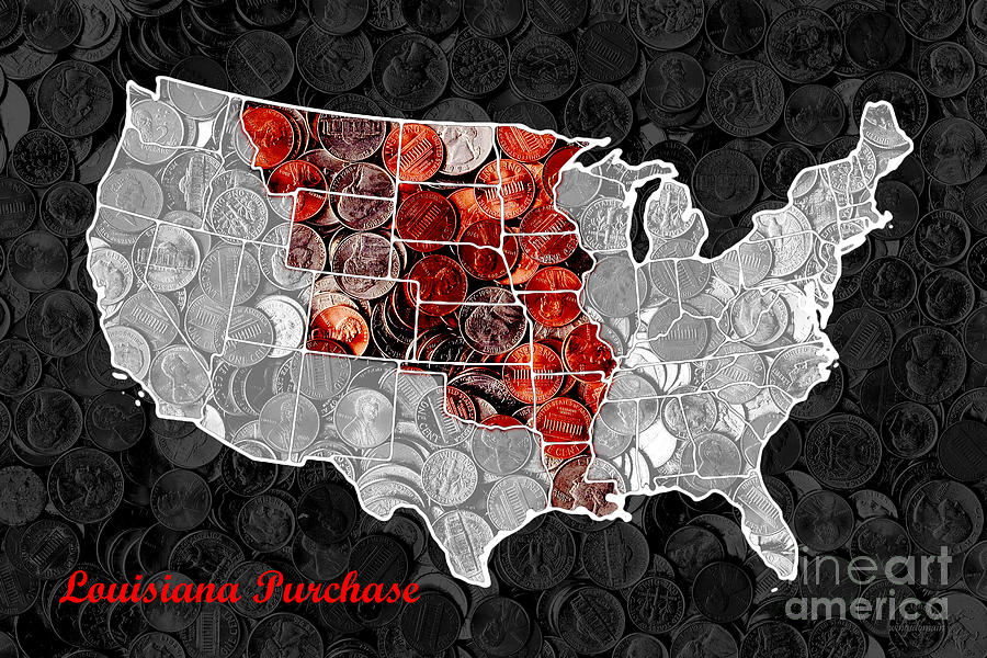 Pop Photograph - Louisiana Purchase Coin Map . V1 by Wingsdomain Art and Photography
