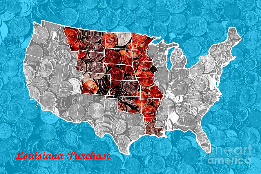 Pop Photograph - Louisiana Purchase Coin Map . V2 by Wingsdomain Art and Photography