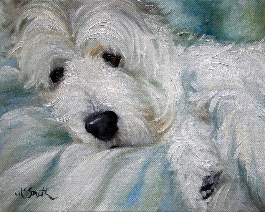 Westie Painting - Lounging In The Shadows by Mary Sparrow