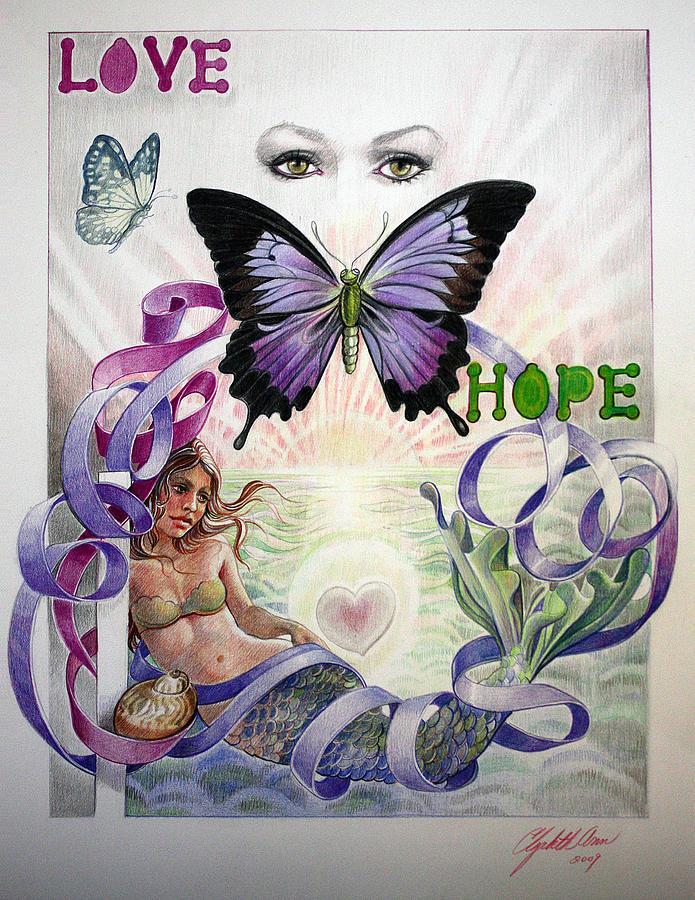 Prismacolor Drawing - Love And Hope by Elizabeth Shafer