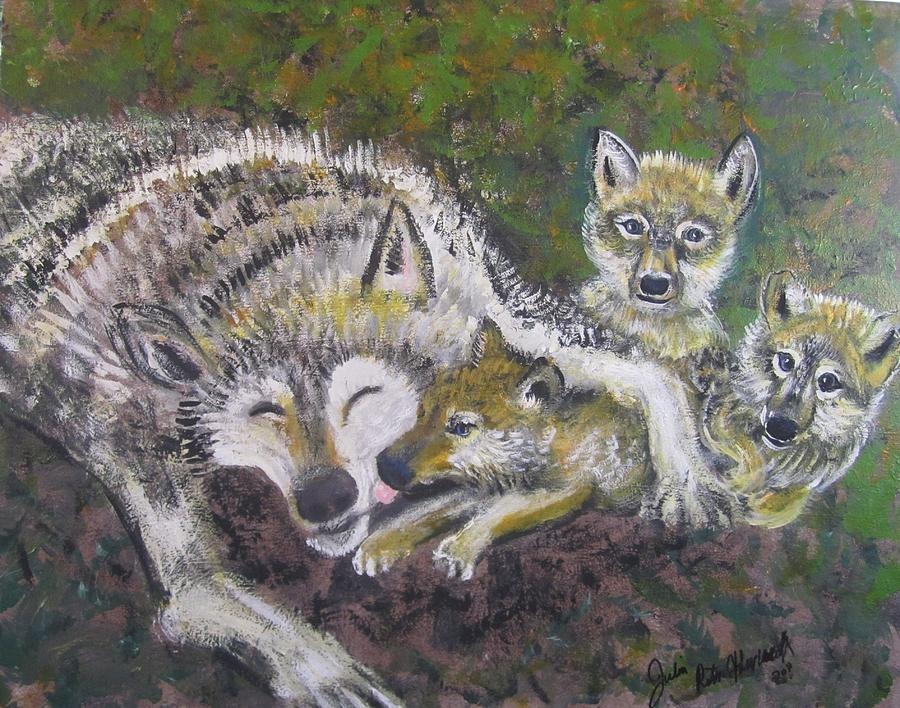 Love Cubs Painting by Julia Rita Theriault