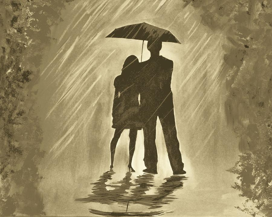 Images Of Lovers In Rain: Love In The Rain C Painting By Leslie Allen