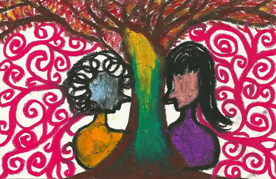Dark Drawing - Love In The Trees Explostion by Ivy T Flanders