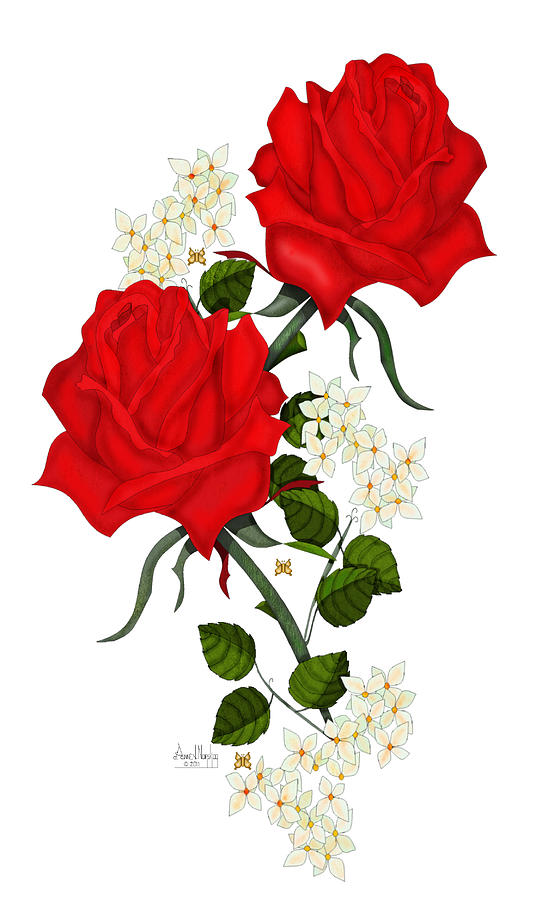 Love Is Like A Red Red Rose Digital Art By Anne V Norskog