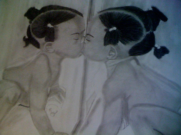 Baby Drawing Original  Drawing - Love Me Some Me by David Duerson