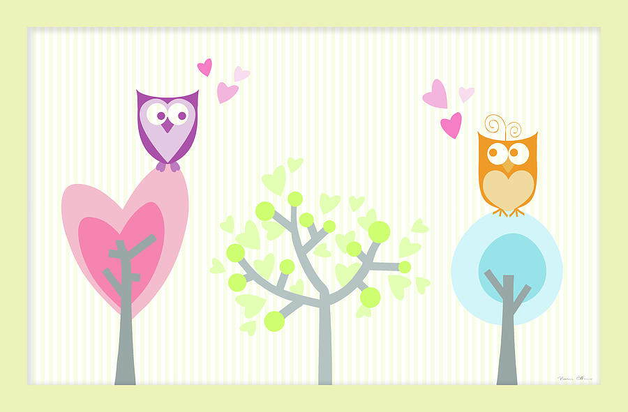 Abstract Digital Art - Love Owls by Nomi Elboim