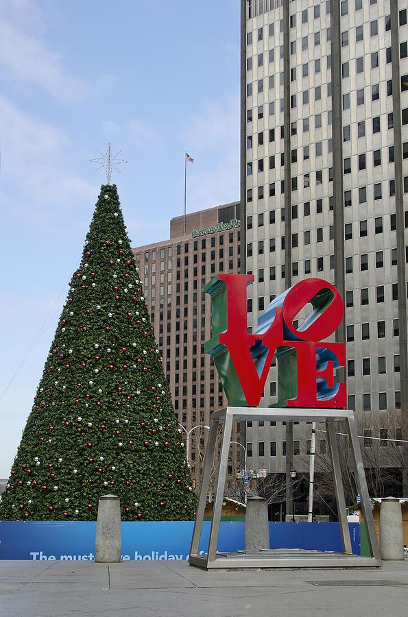 love Park  Photograph - Love Park Philadelphia - Winter by Brendan Reals