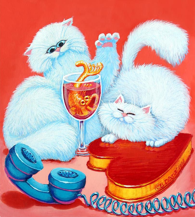 Cats Painting - Love Puffs by Baron Dixon