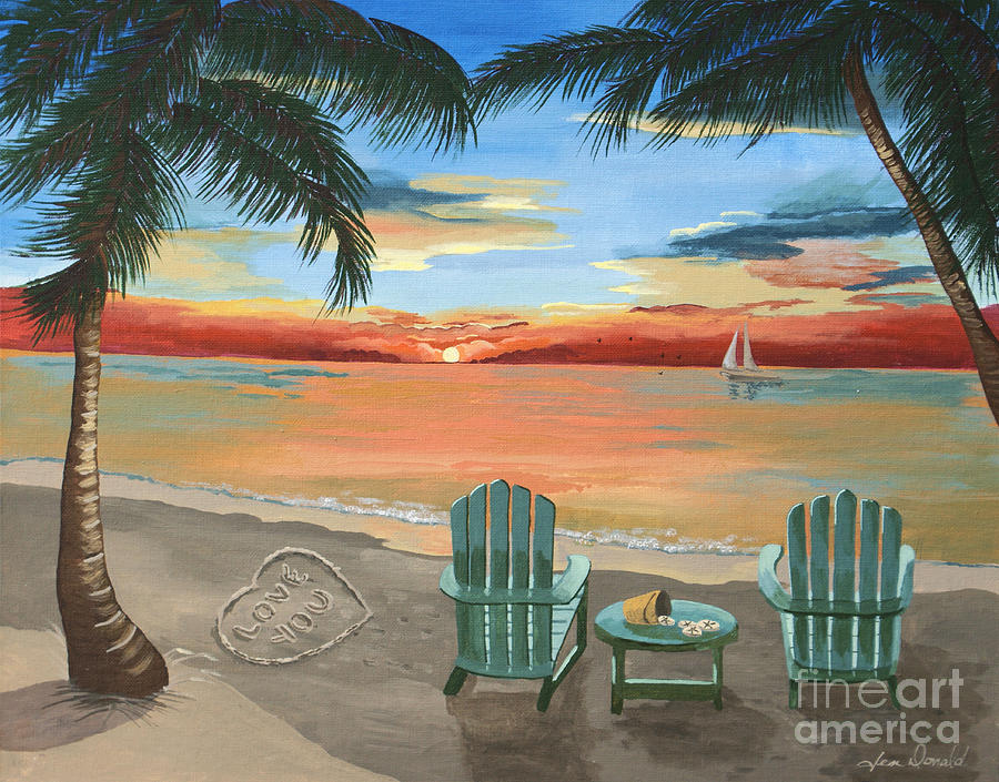 Love Painting - Love You Beach by Jennifer  Donald