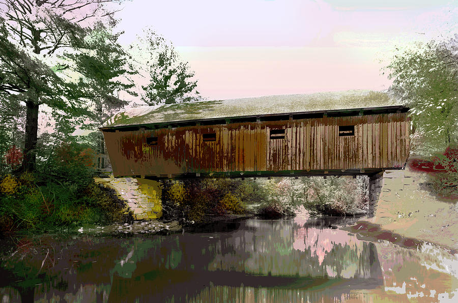Lovejoy Mixed Media - Lovejoy Covered Bridge by Charles Shoup