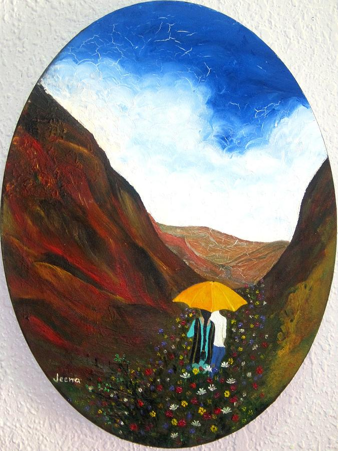 Valley Painting - Lovers In A Valley by Rejeena Niaz