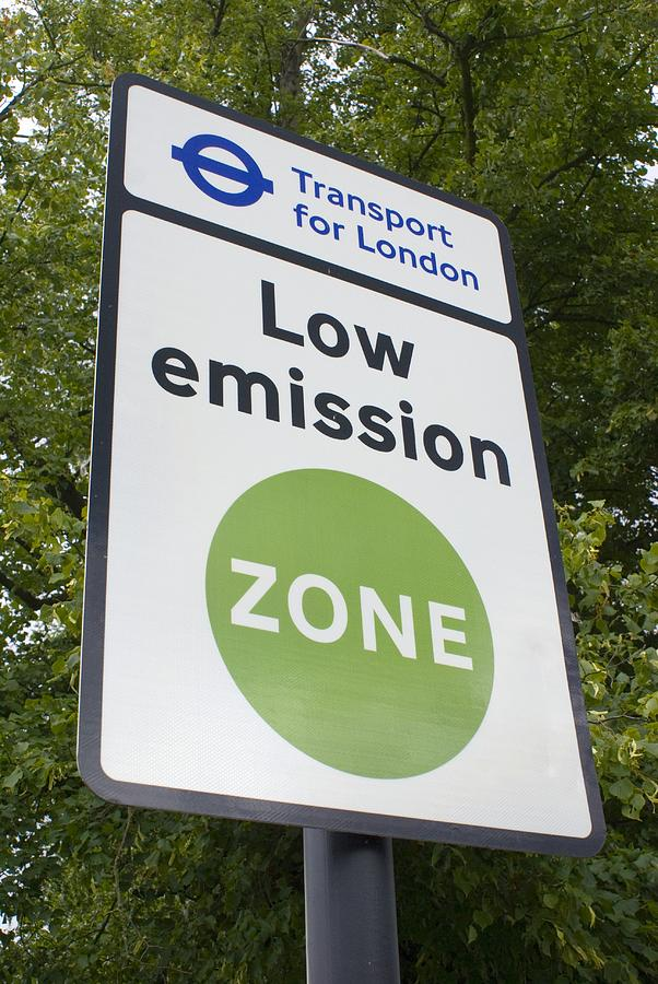 Carbon Photograph - Low Emission Zone Sign In Essex, Uk. by Mark Williamson