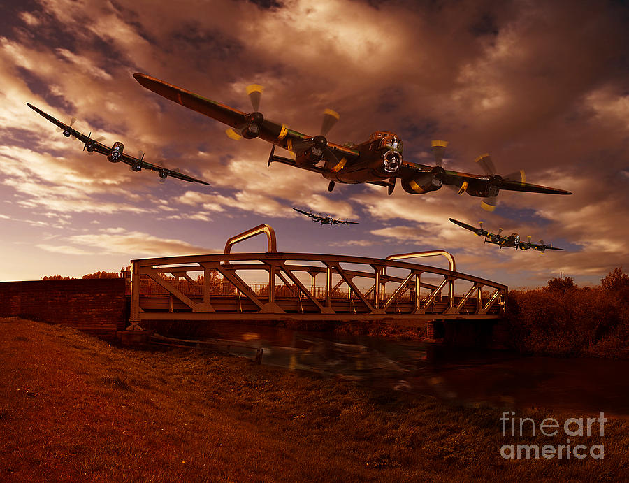 Avro Lancaster Pyrography - Low Flying Over Rawcliffe Bridge by Nigel Hatton