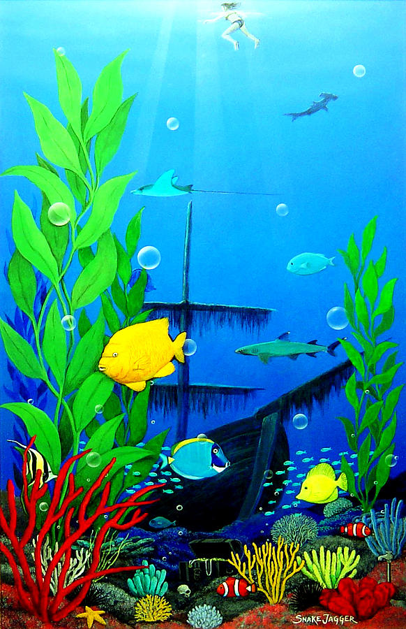 Low maintenance aquarium painting by snake jagger for Aquarium decoration paint