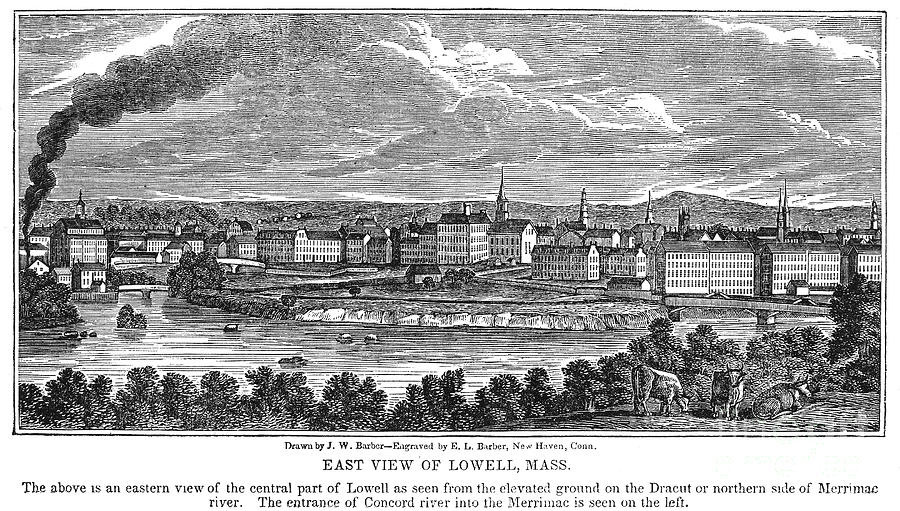 1844 Photograph - Lowell: Factories, 1844 by Granger