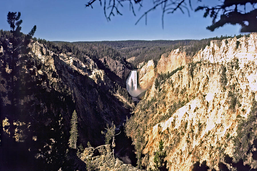 Uncle Tom's Trail Photograph - Lower Falls On The Yellowstone River by Rod Jones