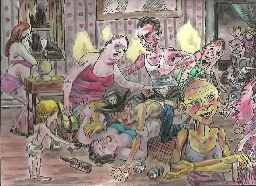 Family Painting - Lowlives by Douglas Manry