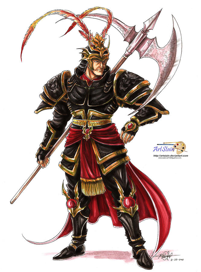 Warrior Painting - Lu Bu by Rommel Pascual