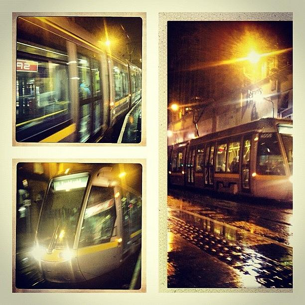 Travel Photograph - Luas At Night. #dublin #travel by David Lynch