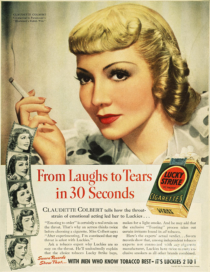 1938 Photograph - Luckys Cigarette Ad, 1938 by Granger