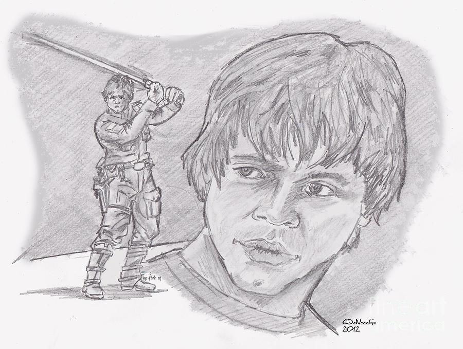 Luke Skywalker Episode V Drawing by Chris  DelVecchio