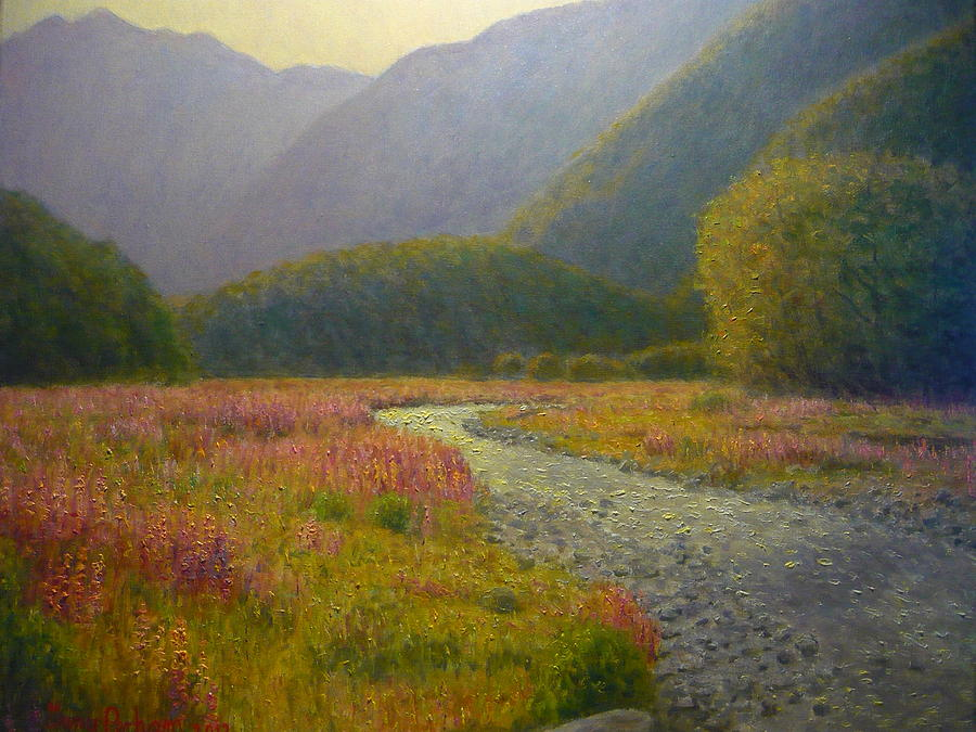 Impressionist Painting - Lupins Cascade Creek by Terry Perham