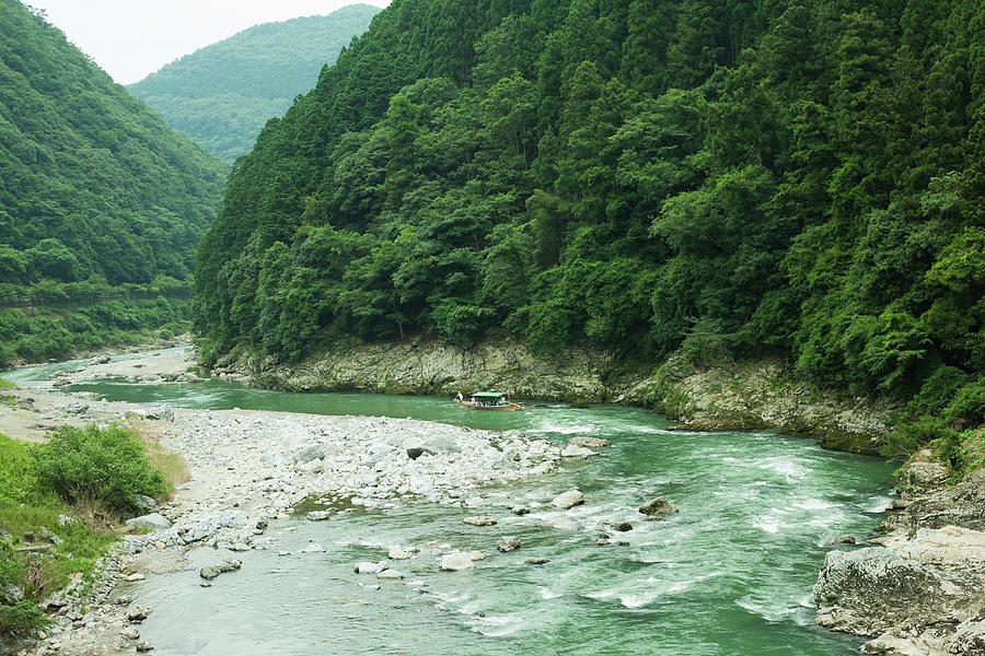 Horizontal Photograph - Lush Green Volcanic River Gorge, Kyoto, Japan by Ippei Naoi