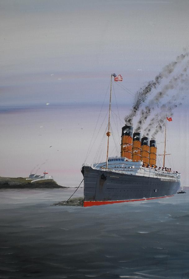 Olympic Painting - Lusitania At Roches Point by James McGuinness