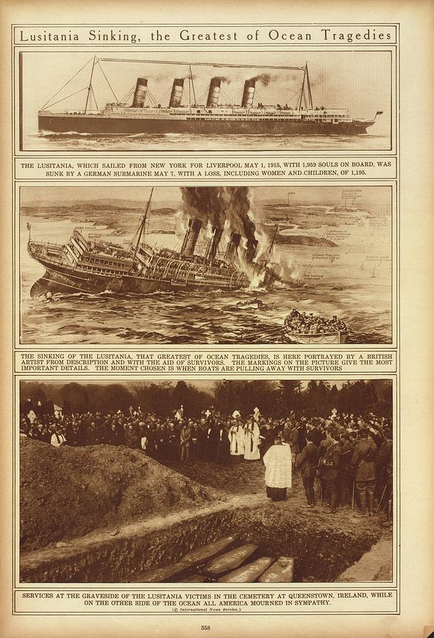 History Photograph - Lusitania Sinking The Greatest Of Ocean by Everett