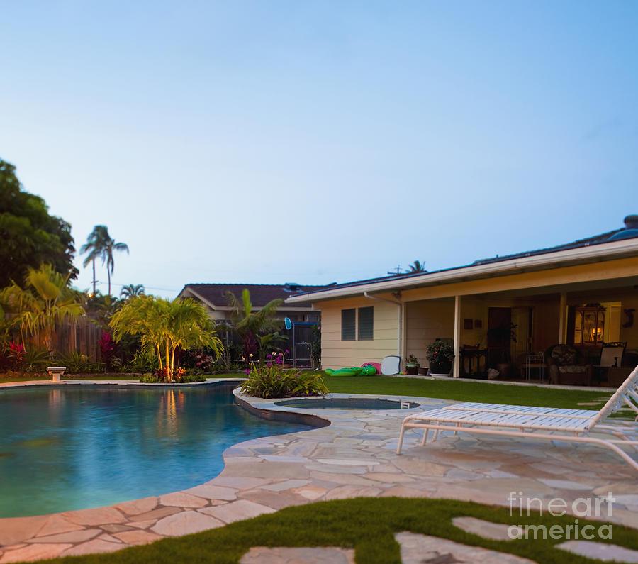 Beach Chair Photograph - Luxury Backyard Pool And Lanai by Inti St. Clair