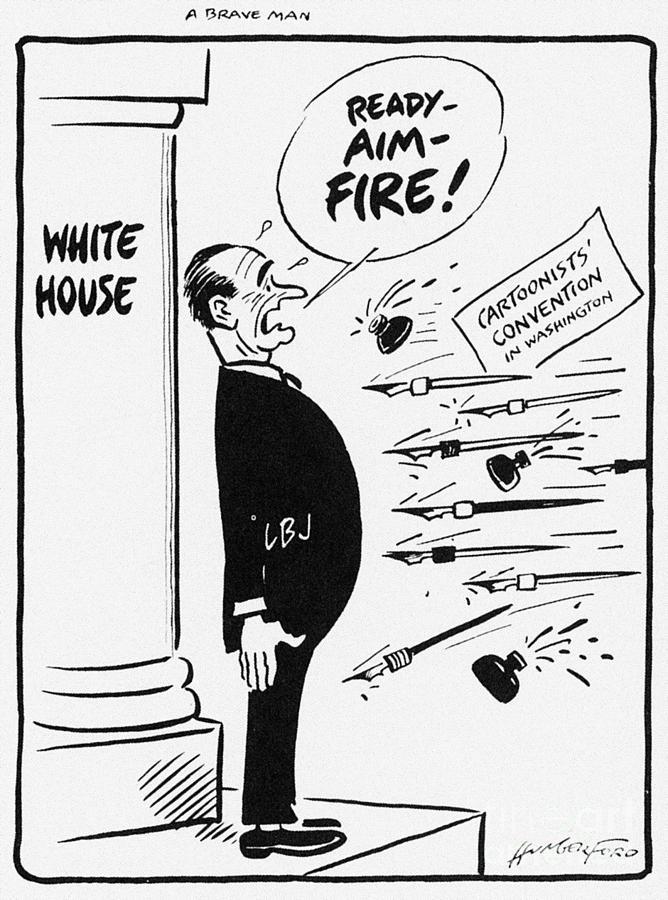 1960s Photograph - Lyndon B. Johnson: Cartoon by Granger