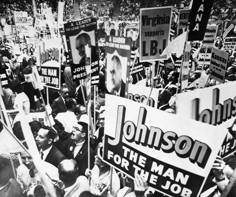 1960s Photograph - Lyndon Johnson. Delegates Supporting Us by Everett