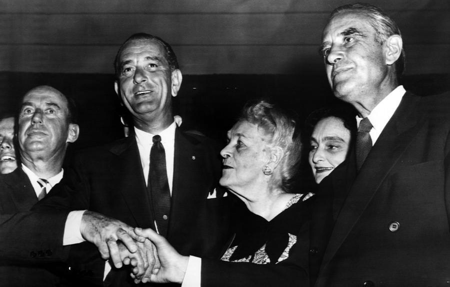 1950s Photograph - Lyndon Johnson. From Left  Future by Everett