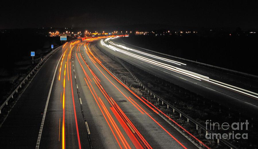 M5 Photograph - M5 At Night by Rob Hawkins