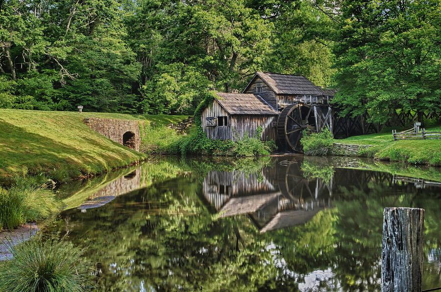 Blue Ridge Parkway Photograph - Mabry Mill And Pond With Reflection by Lori Coleman