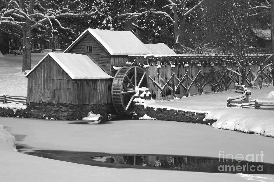 Mabry Mill Photograph - Mabry Mill In Black And White by Joe Elliott