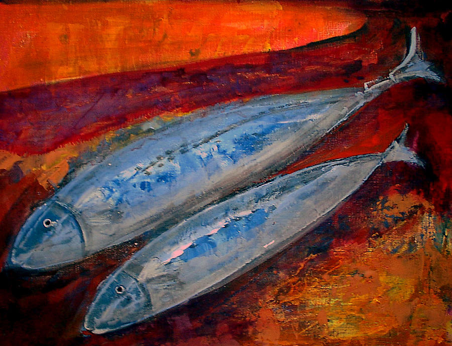 Painting Painting - Mackerels In The Sunset by Aquira Kusume