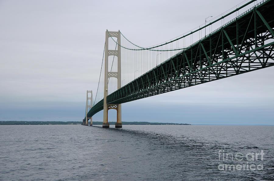 Bridge Photograph - Mackinac Bridge From Water by Ronald Grogan