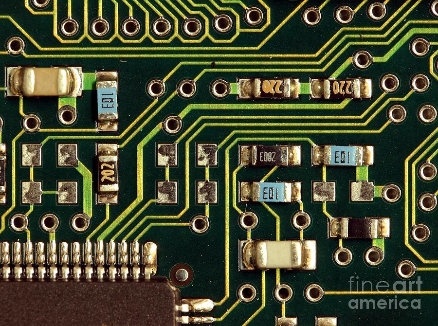 Computer Photograph - Macro View Of A Computer Motherboard by Yali Shi