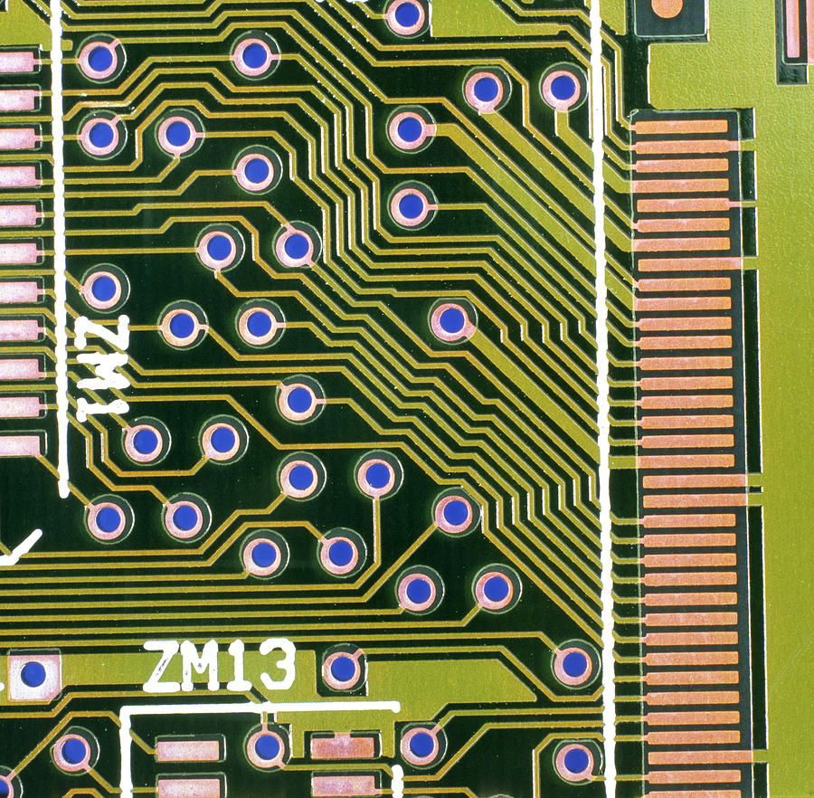 Circuit Board Photograph - Macrophotograph Of Printed Circuit Board by Dr Jeremy Burgess