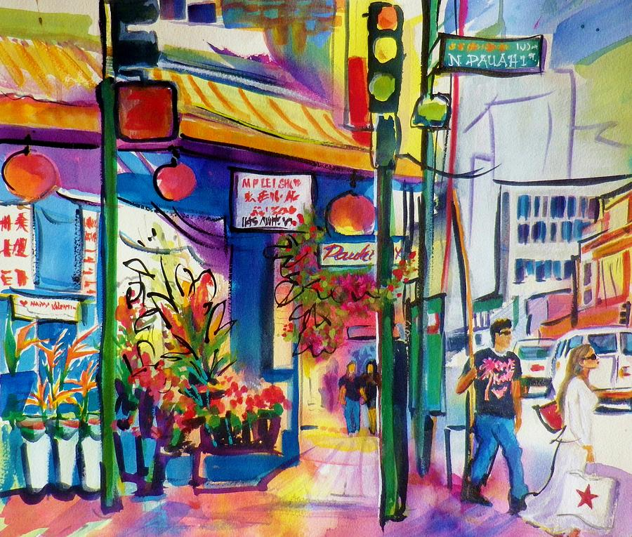 Chinatown Painting - Macys Bag In Chinatown Honolulu by Therese Fowler-Bailey