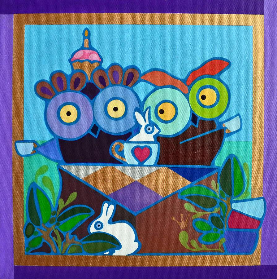 Owl Painting - Mad Owl Tea by Jenny Valdez