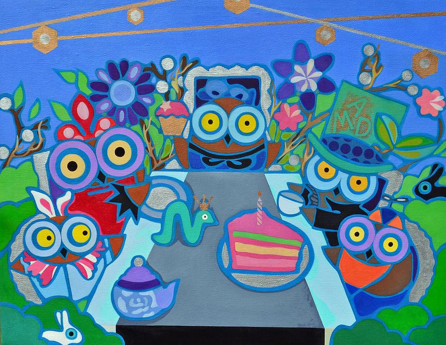 Owls Painting - Mad Owls Tea by Jenny Valdez