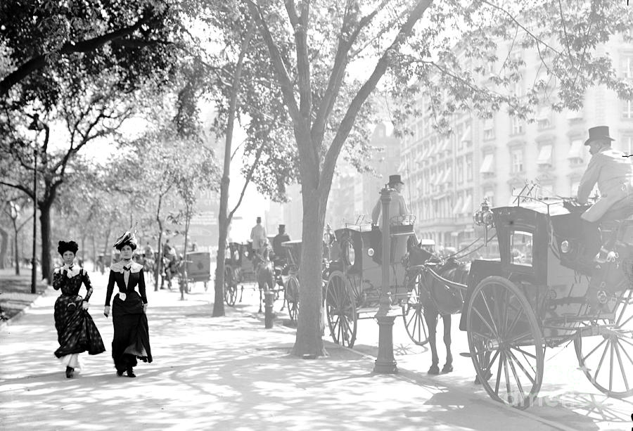 Pedestrians Photograph - Madison Square Cab Stand New York City 1900 by Padre Art