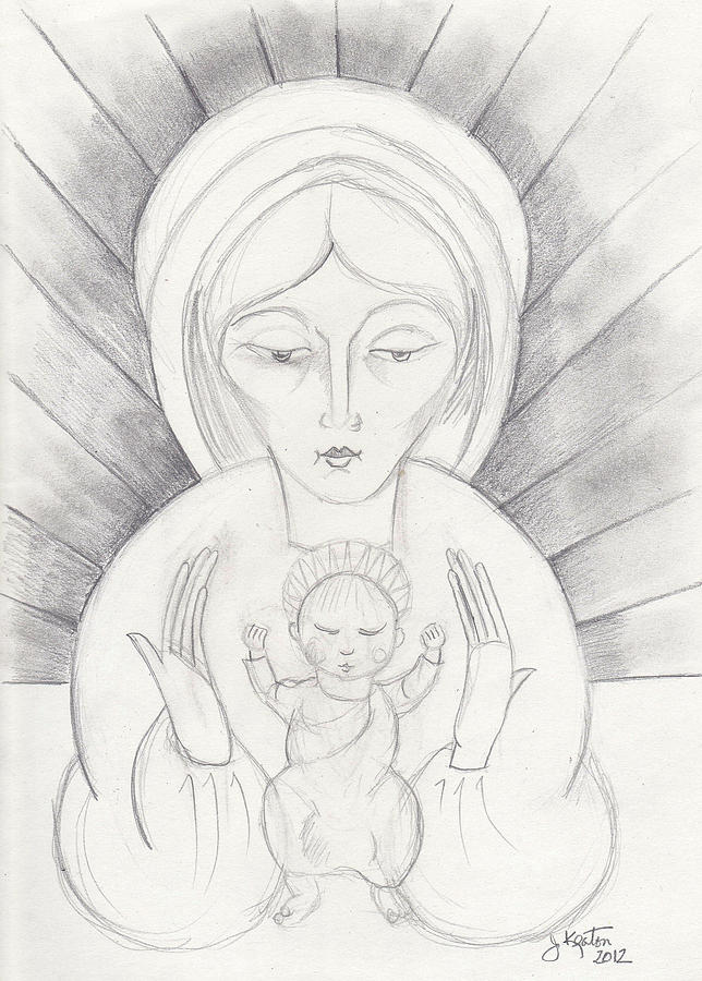 Madonna And Child Drawing - Madonna And Child by John Keaton